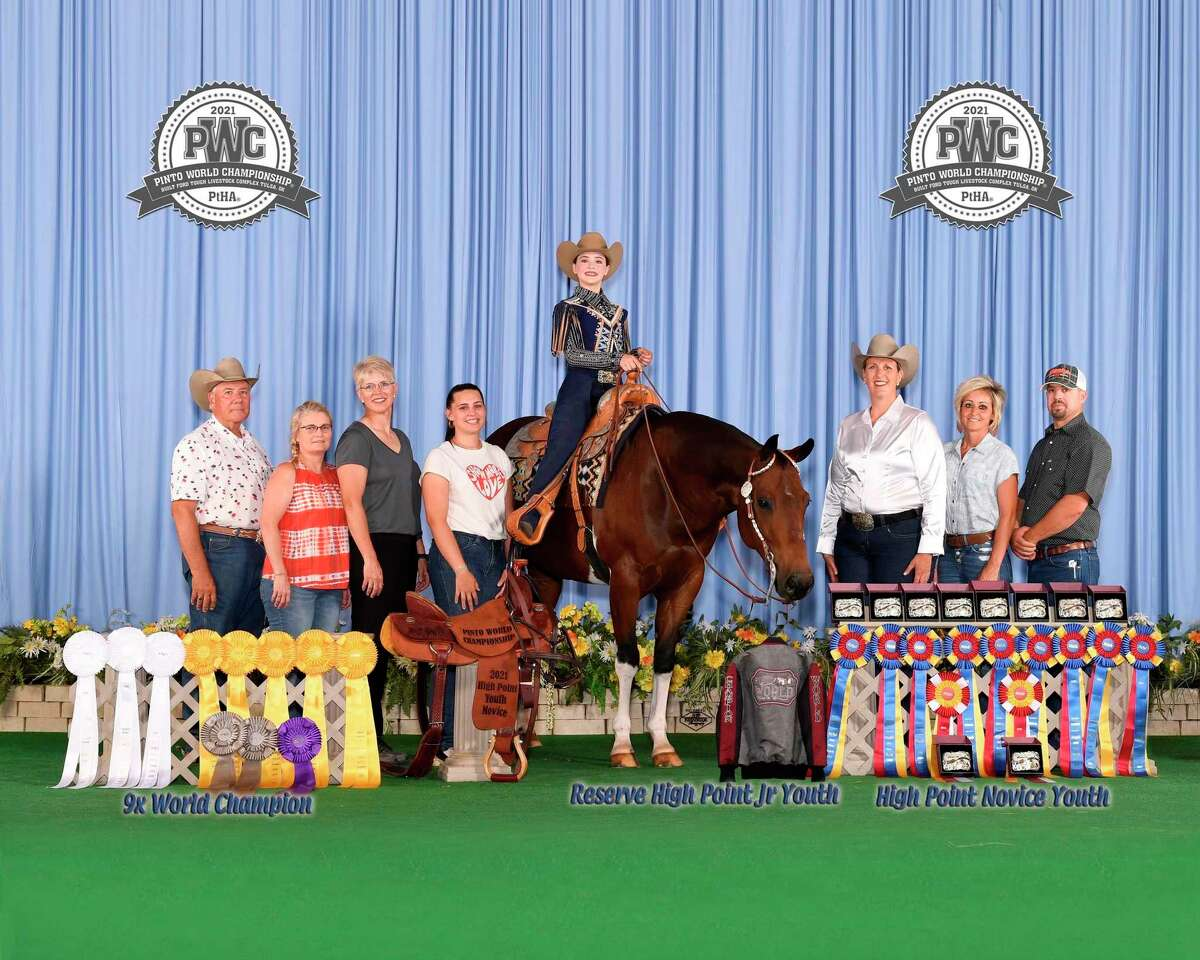 Twelve-year-old Reed City student Malley Terryn took home10 different awards of recognition for her first appearance riding at the Pinto World Championship show in Tulsa, Oklahoma with her horse Bill Simpson. (Courtesy/Malley Terryn)