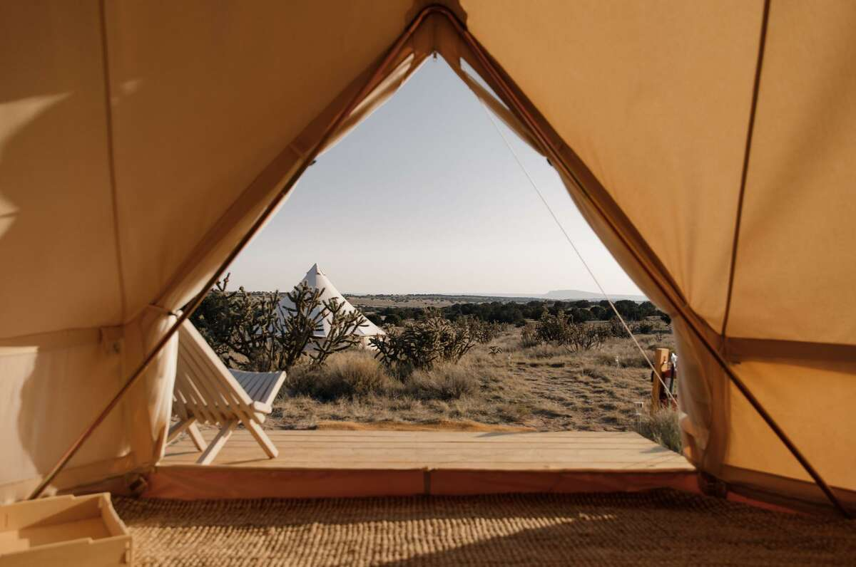 The view from a tent at KitFox, a new glamping site in Lamy, New Mexico.