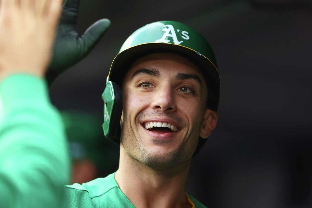 NEW YORK, NEW YORK - JUNE 18: Matt Olson #28 of the Oakland Athletics celebrates after hitting a home run in the first inning against the New York Yankees at Yankee Stadium on June 18, 2021 in New York City. (Photo by Mike Stobe/Getty Images)