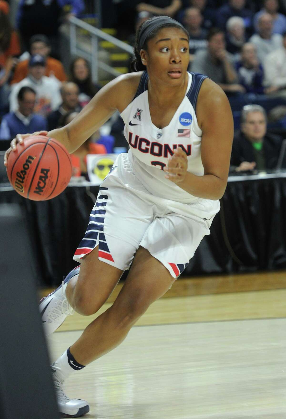 UConn's Morgan Tuck in action against Texas during the NCCA Regional championship at the Webster Bank Arena in Bridgeport in 2016.