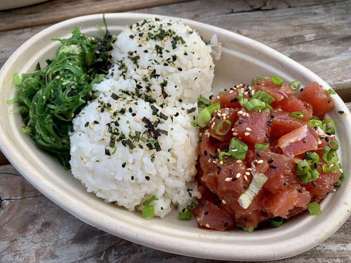 Ahi dish with tuna fringe from Sam Choy's Poke To The Max food truck.
