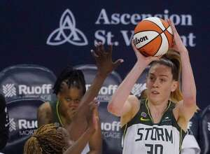 The Seattle Storm's Breanna Stewart shoots over the Indiana Fever's Jantel Lavender during the second half of a game on June 17.