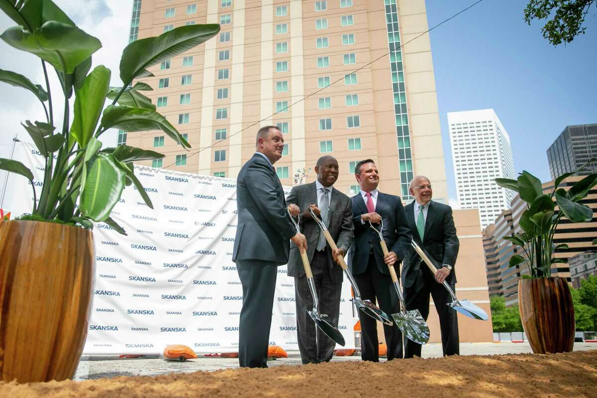 Robert Ward, Sylvester Turner, Matt Damborsky and Bob Eury pose for a picture during the groundbreaking for 1550 on the Green on Thursday, June 24, 2021.
