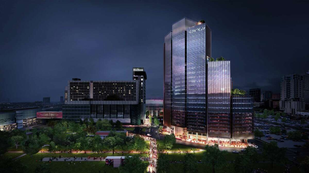 1550 on the Green, a 26-story office tower planned for the southwest corner of Discovery Green, markets the first phase of a 3.5-acre mixed-use development by Skanska.