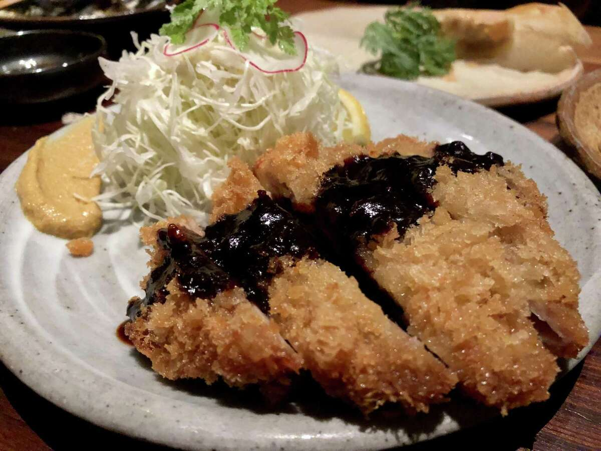 Kurobuta tonkatsu at Rintaro. It features a dark brown miso made in Japan's Aichi Prefecture, which has a muscular, mole-like taste.