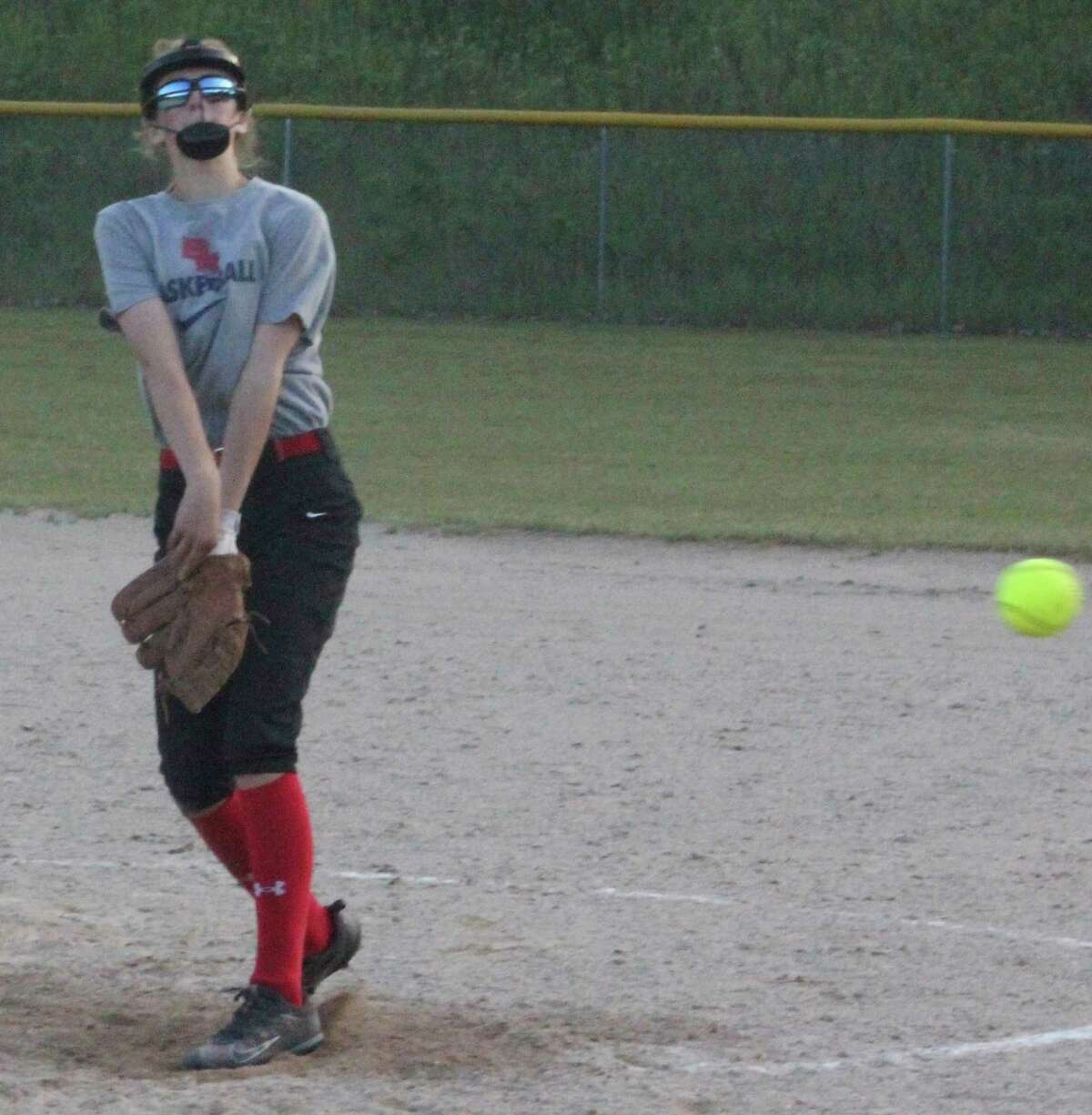 Big Rapids' Cailin Knoop delivers a pitch to the plate against Pine River on Wednesday (Pioneer photo/John Raffel)