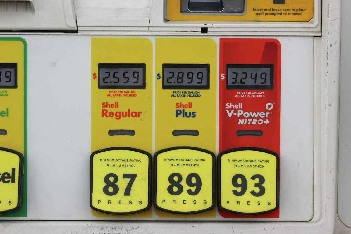 San Antonio has the cheapest gas price average of any metro area surveyed in the U.S. by AAA. Prices are seen at a gas station Friday in San Antonio.
