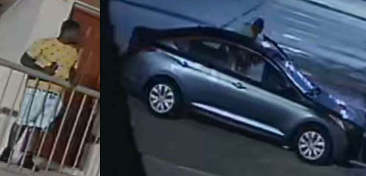 A person identified as a suspect in an aggravated assault in Spring is seen in photos released by authorities.