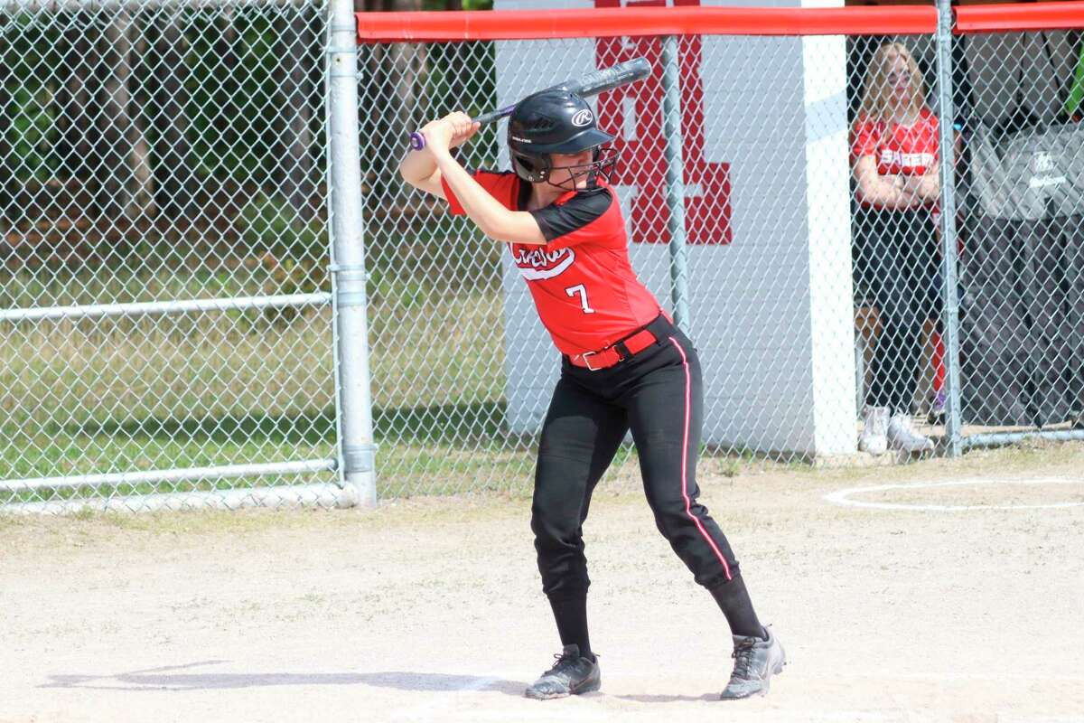 Taylor Merrill waits on a pitch during a game against Manistee Catholic Central earlier this year. (News Advocate file photo)