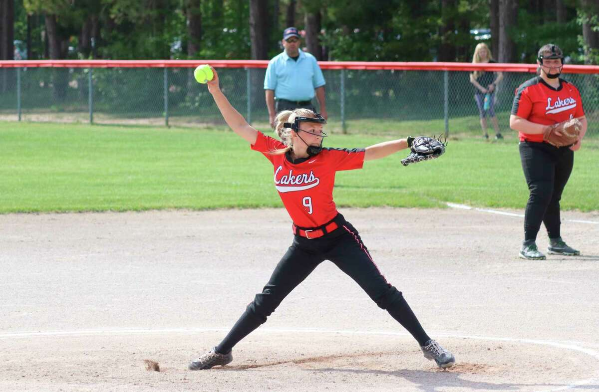 Kalissa Swanson delivers a pitch during a game against Manistee Catholic Central this spring. (News Advocate file photo)