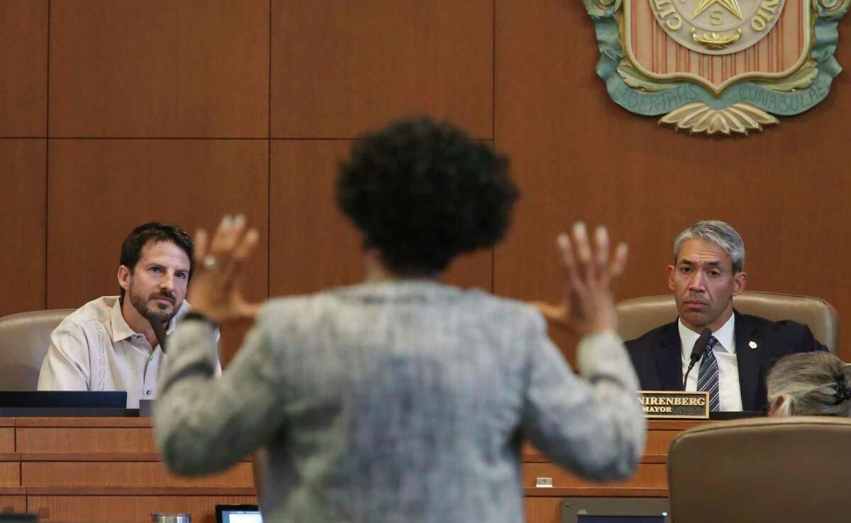 CPS Energy President and CEO Paula Gold-Williams answers a question from San Antonio District 1 member Mario Bravo, left, as Mayor Ron Nirenberg listens, Thursday, June 24, 2021. The Emergency Preparedness Committee, chaired for former city council member Reed Williams, presented their report on the February storm.