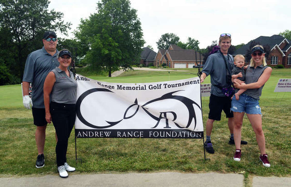 Family members gather before the third annual Andrew Range Memorial Golf Tournament Saturday at Fox Creek Golf Course, including, left to right, Bob Range, Traci Range, Corey Hays, Pierce Hays and Taylor Hays.