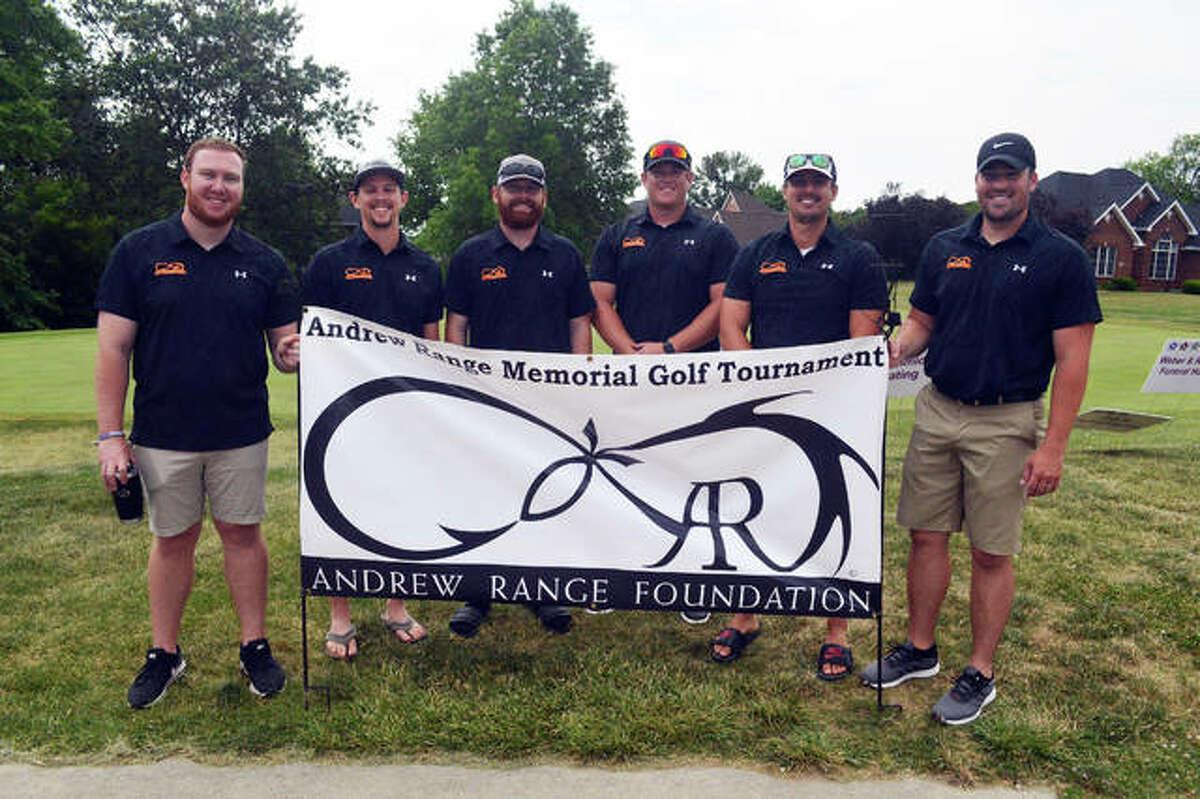 Tournament committee members for the Andrew Range Memorial Golf Tournament are, left to right, Shane Schmidt, Adam Bainbridge, TJ Wood, Carson Coffey, Mike Monfre and Joe Gardner.