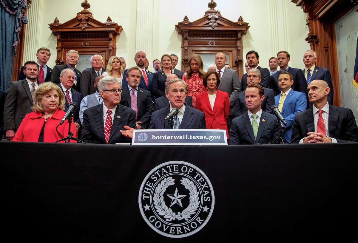 """Gov. Greg Abbott speaks during a press conference on details of his plan for Texas to build a border wall and provide $250 million in state funds as a """"down payment,"""" Wednesday, June 16, 2021 in Austin, Texas."""