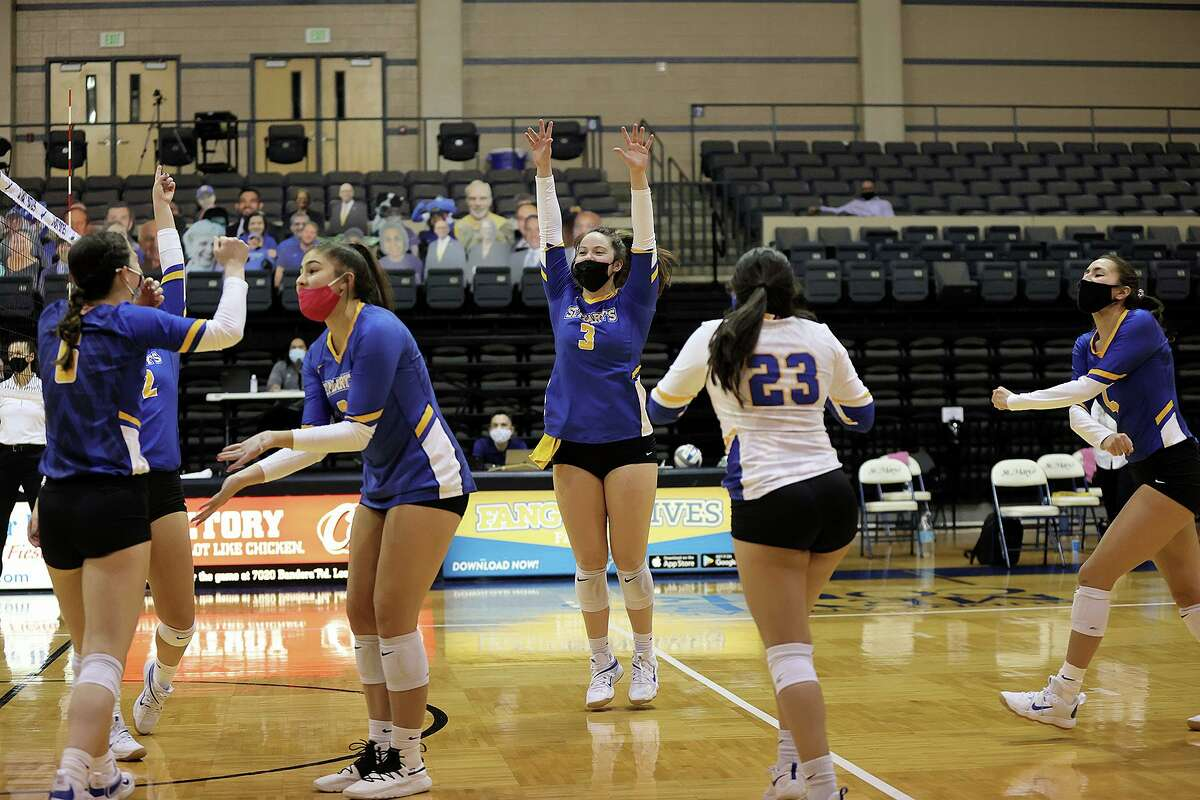 St. Mary's volleyball player Aislan Lennon celebrates during a match last season at Bill Greehey Arena.