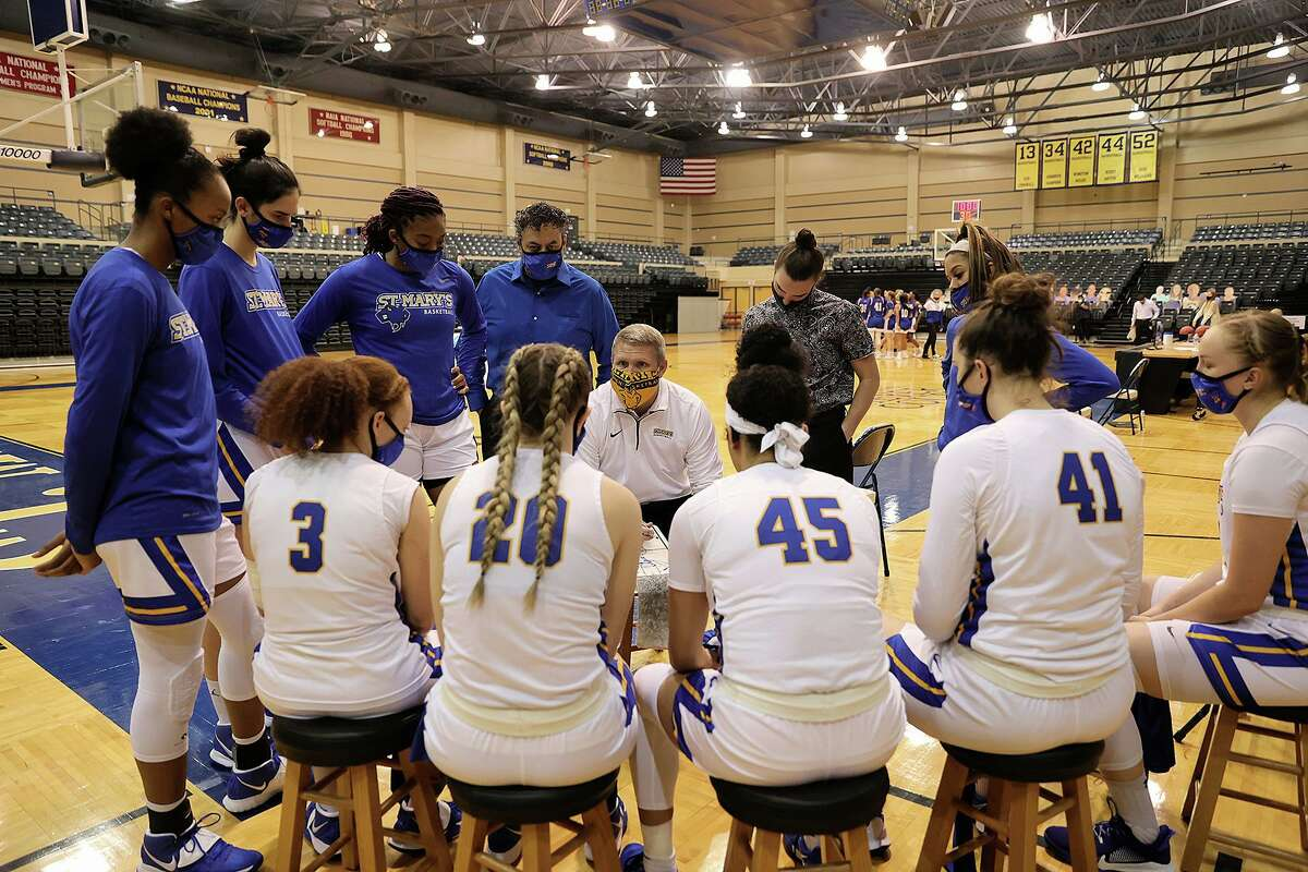 The St. Mary's women's basketball team huddles during a game last season at Bill Greehey Arena.