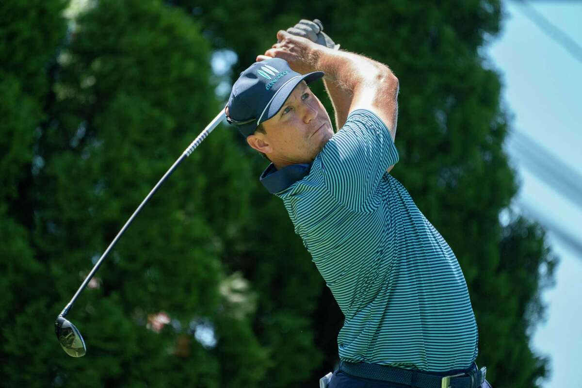 Kramer Hickok watches his shot off the ninth tee during the first round of the Travelers Championship at TPC River Highlands on Thursday in Cromwell.