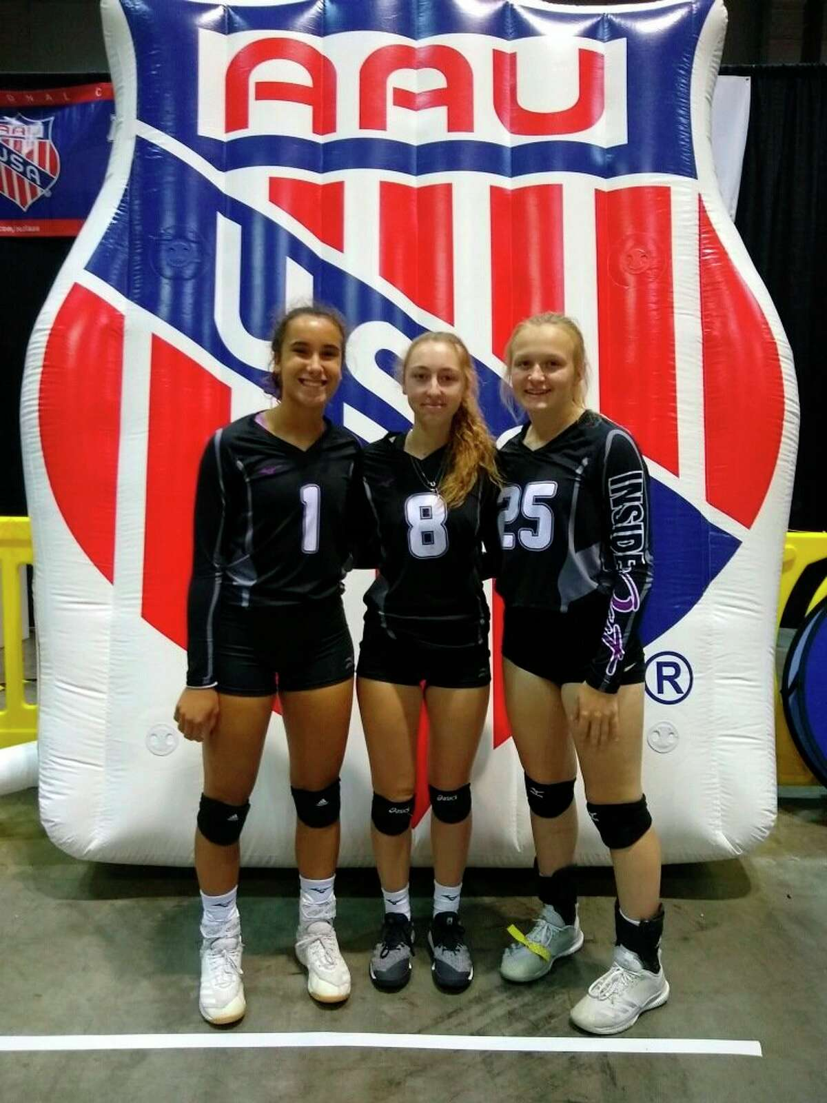 From left, Braelyn Berry, Emily Cornell and Madison Garbow are playing in AAU national this week. (Courtesy photo)