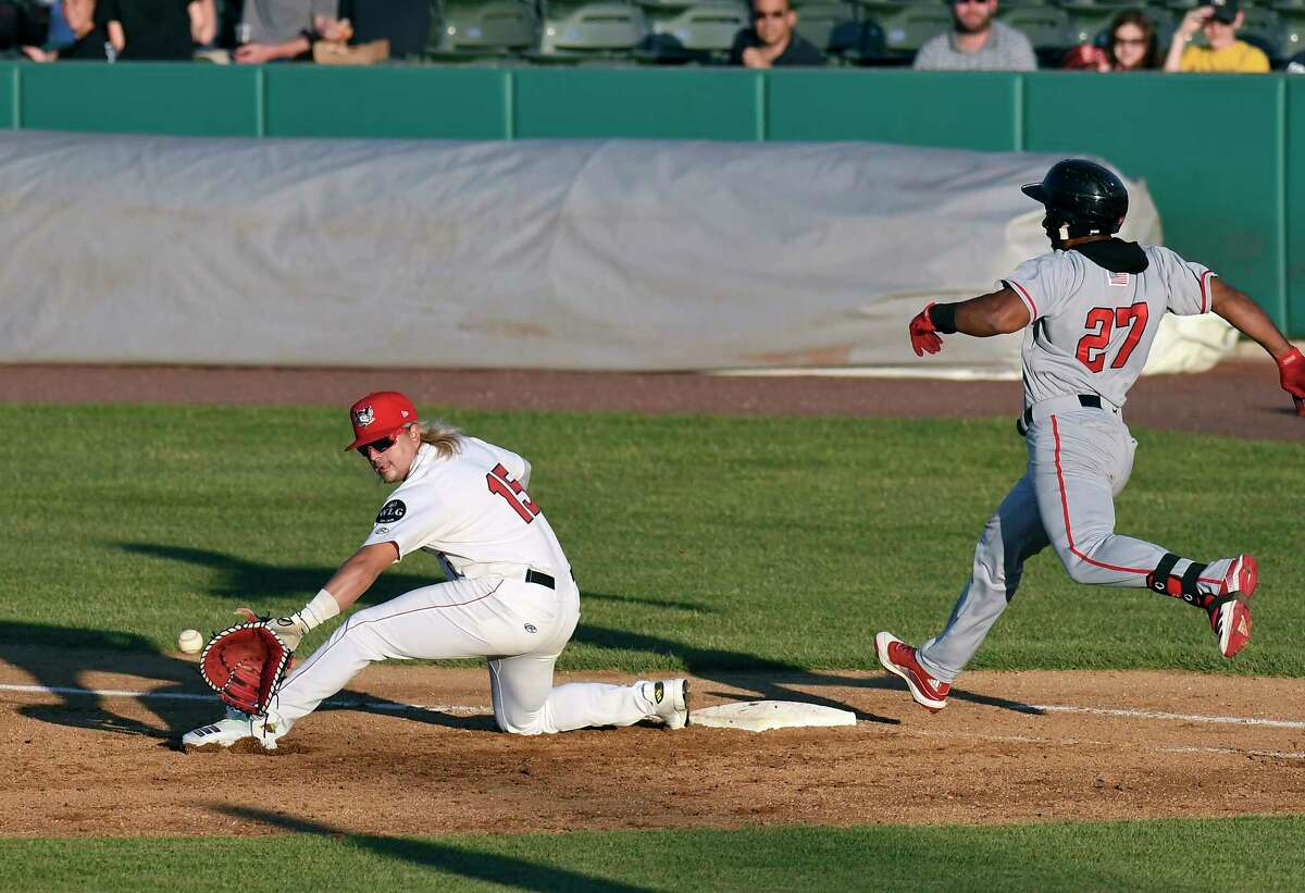 Tri-City ValleyCats first baseman Chris Kwitzer (15) makes the catch for the out against New Jersey Jackals Alfredo Marte (27)during a minor league baseball game in Troy, N.Y., Thursday, June 24, 2021. (Hans Pennink / Special to the Times Union) ORG XMIT: 062521_valleycats_HP101