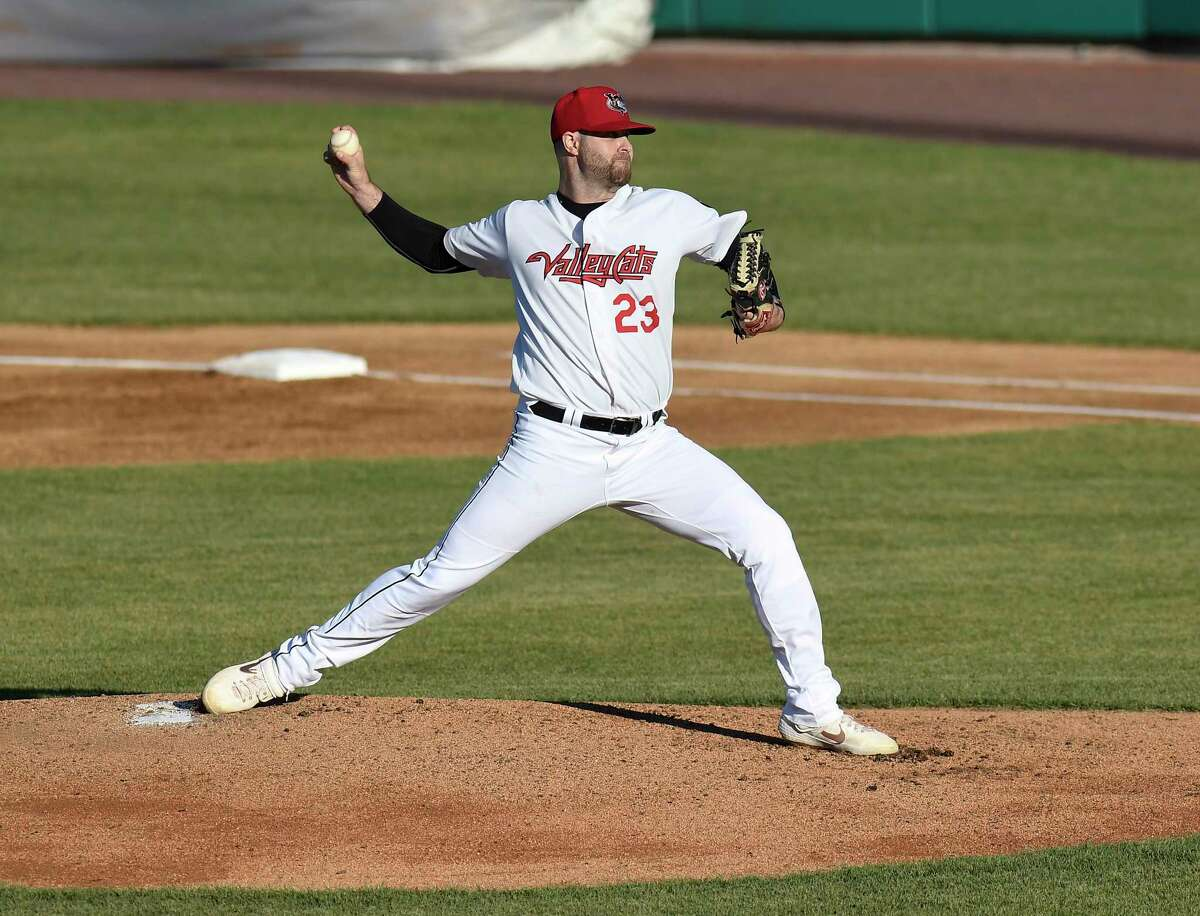 Tri-City ValleyCats Turner Larkins (23) pitches against the New Jersey Jackals during a minor league baseball game in Troy, N.Y., Thursday, June 24, 2021. (Hans Pennink / Special to the Times Union) ORG XMIT: 062521_valleycats_HP102