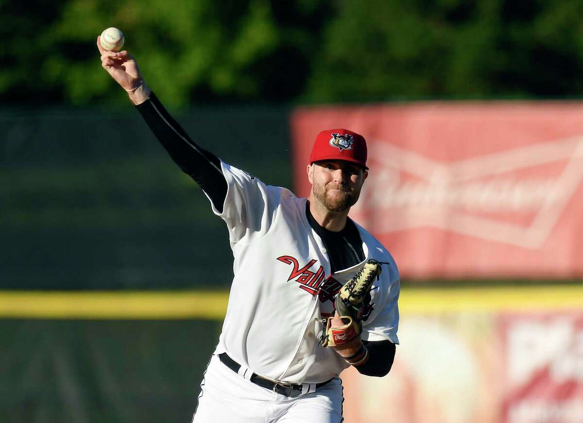 Tri-City ValleyCats Turner Larkins (23) pitches against the New Jersey Jackals during a minor league baseball game in Troy, N.Y., Thursday, June 24, 2021. (Hans Pennink / Special to the Times Union) ORG XMIT: 062521_valleycats_HP103