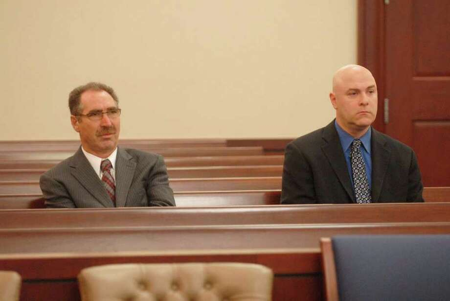 Paul Buckowski/Times Union Troy City Councilman Michael LoPorto, left, and Troy City Clerk William McInerney appear in Albany court Tuesday, where a judge ordered them to provide DNA samples in a ballot-fraud investigation. (Paul Buckowski / Times Union) Photo: Paul Buckowski / 00010267A