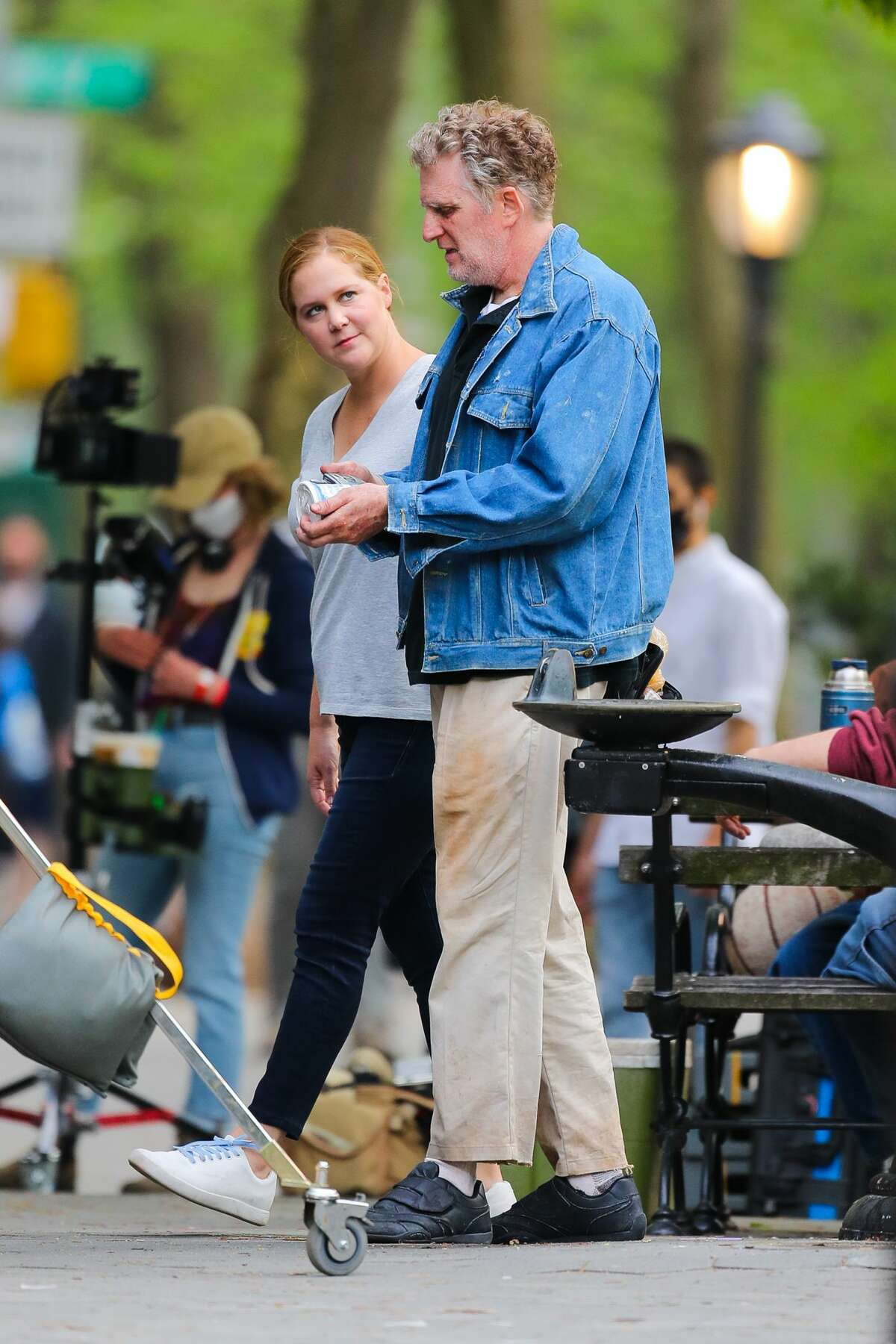 """Amy Schumer and Michael Rapaport are seen filming the Hulu series """"Life & Beth"""" on April 28, 2021 in New York City. The production is now shooting in Dutchess County, the latest in a long list of TV and film productions to shoot in the region."""