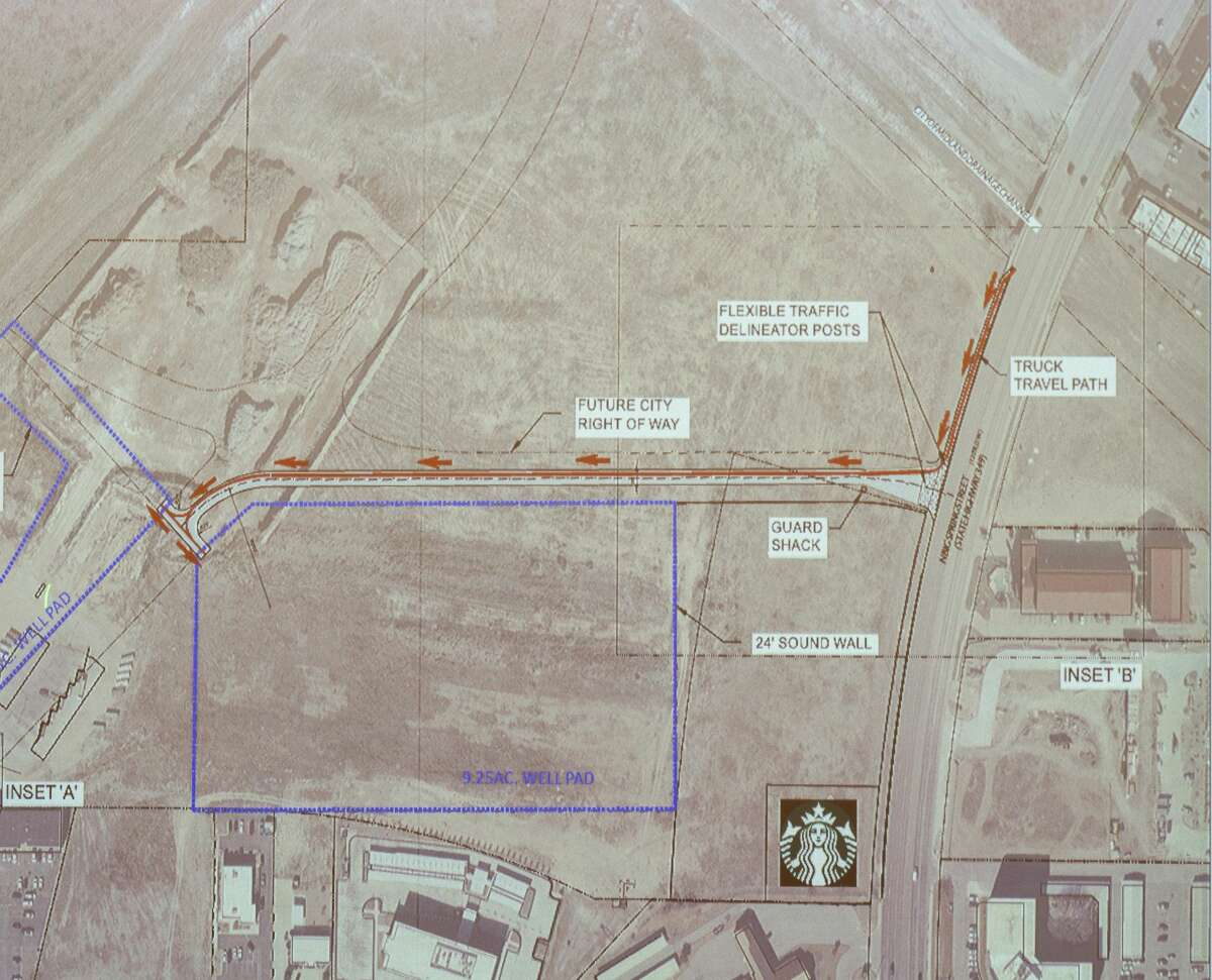 An overview map of the proposed traffic flow into the drilling area Permian Deep Rock Oil Company has presented to the City of Midland 06/23/2021 and shown during presentation to community members on the proposed drilling site near Midland Air Park. Tim Fischer/Reporter-Telegram