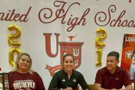 United's Evelyn Quiroz, joined by her parents Bertha Chavez and Daniel Quiroz, signed her National Letter of Intent on Thursday to play at TAMIU next season.
