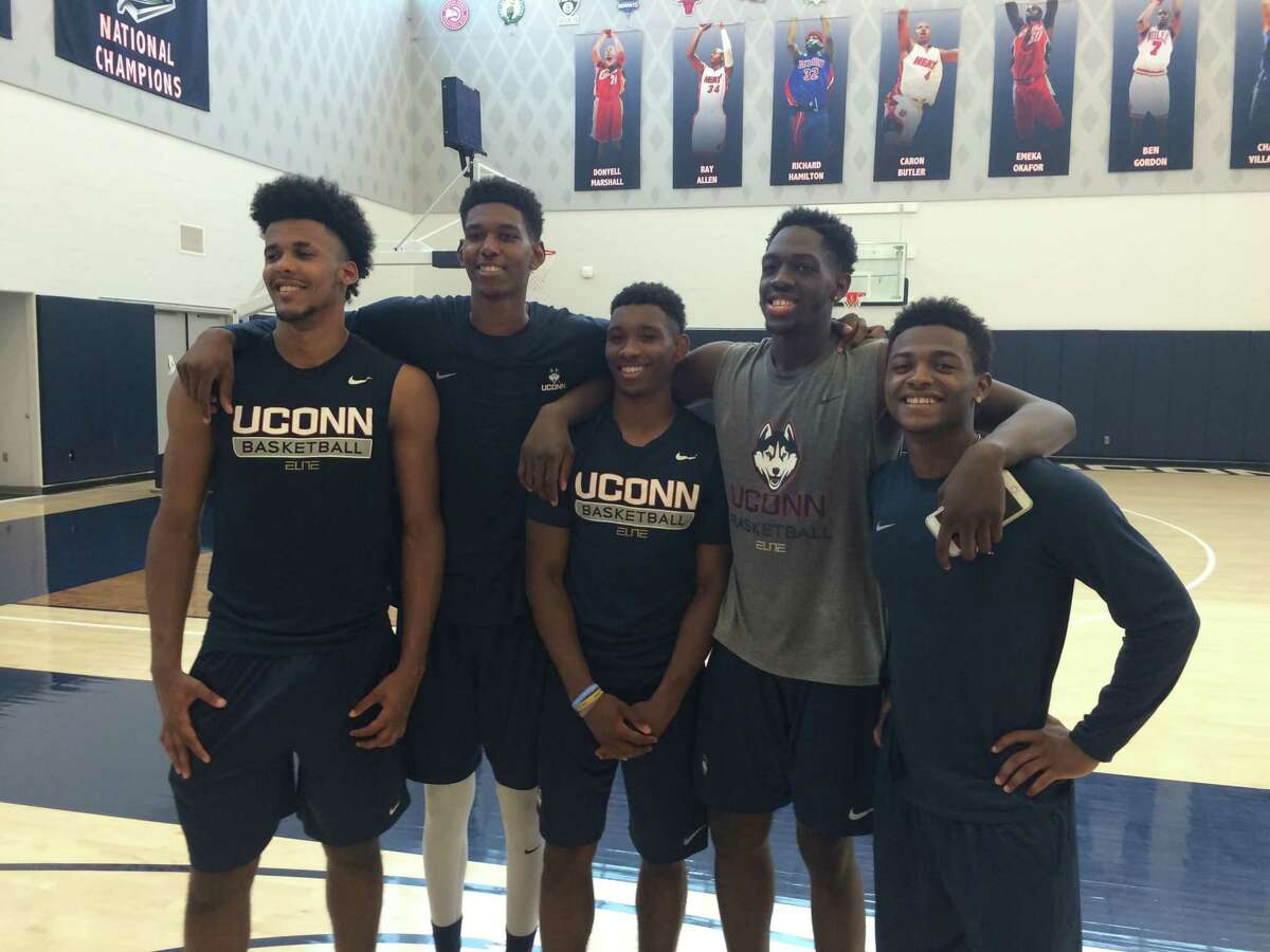 """UConn's """"Top Five"""" recruiting class of 2016 of, from left, Vance Jackson, Juwan Durham, Christian Vital, Mamadou Diarra and Alterique Gilbert wound up taking wildly divergent paths."""