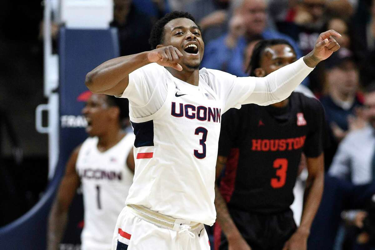 UConn's Alterique Gilbert reacts to a play in a 2020 game against Houston in Storrs.