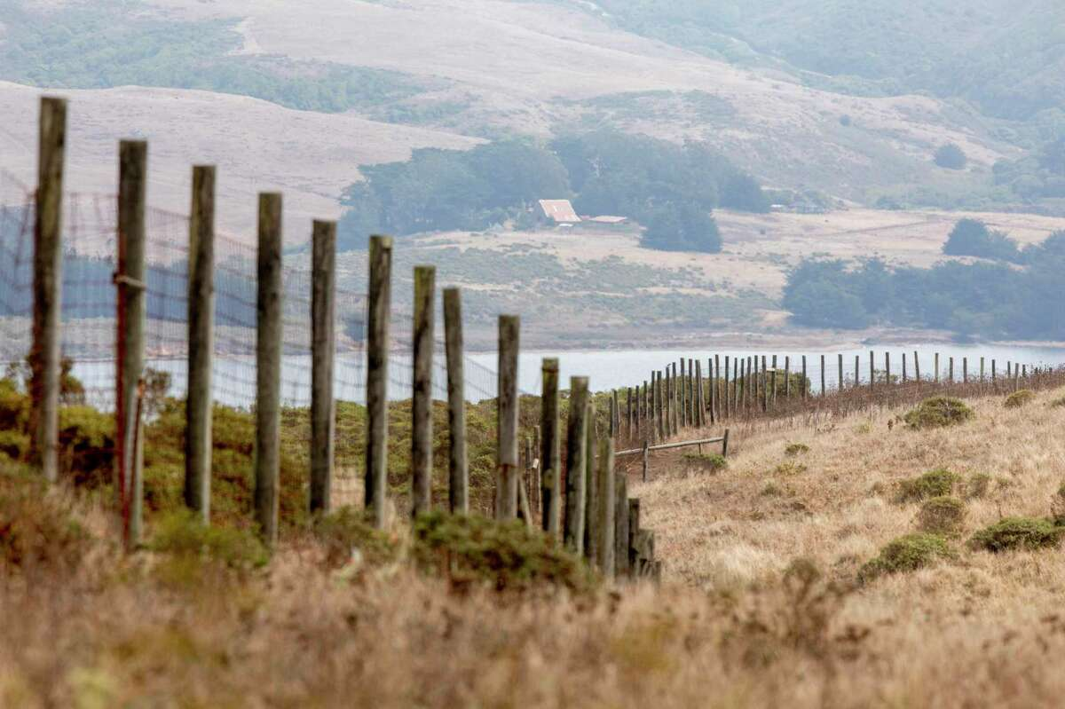 A large fence is seen surrounding the Tomales Point Tule Elk Reserve inside Point Reyes National Seashore in Inverness.