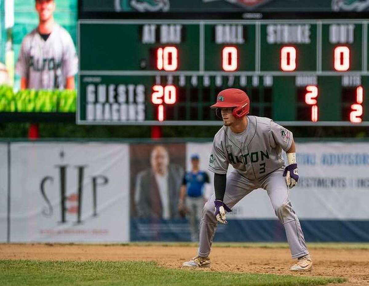 Alton River Dragons outfielder Mike Hampton had three hits and scored a run in his team's 10-2 win over Clinton, Iowa Thursday night at Lloyd Hopkins Field. He is shown earlier this season.