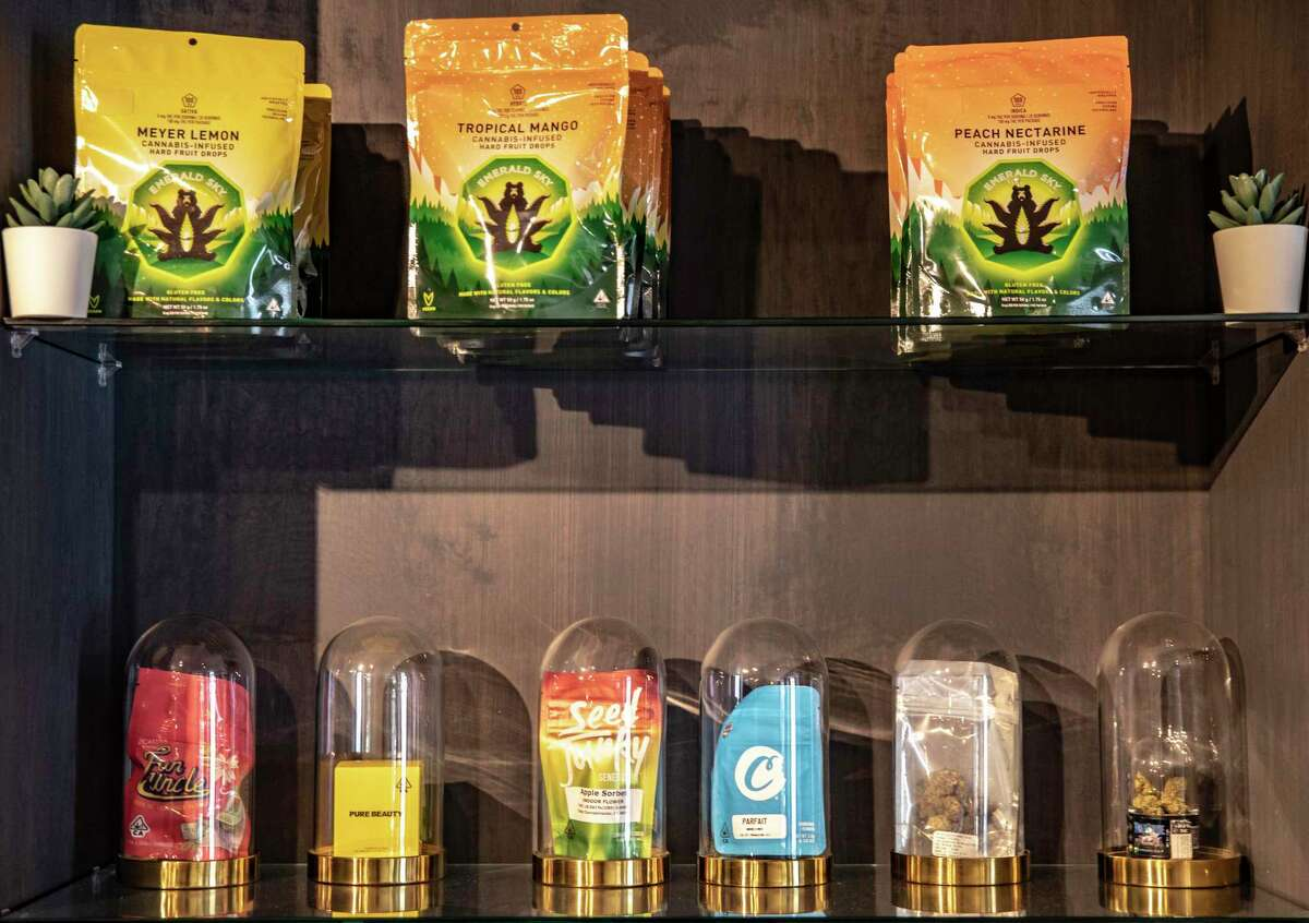 Flowers and edibles are seen on display at Posh Green Cannabis Boutique on Thursday, April 01, 2021, in San Francisco, Calif.