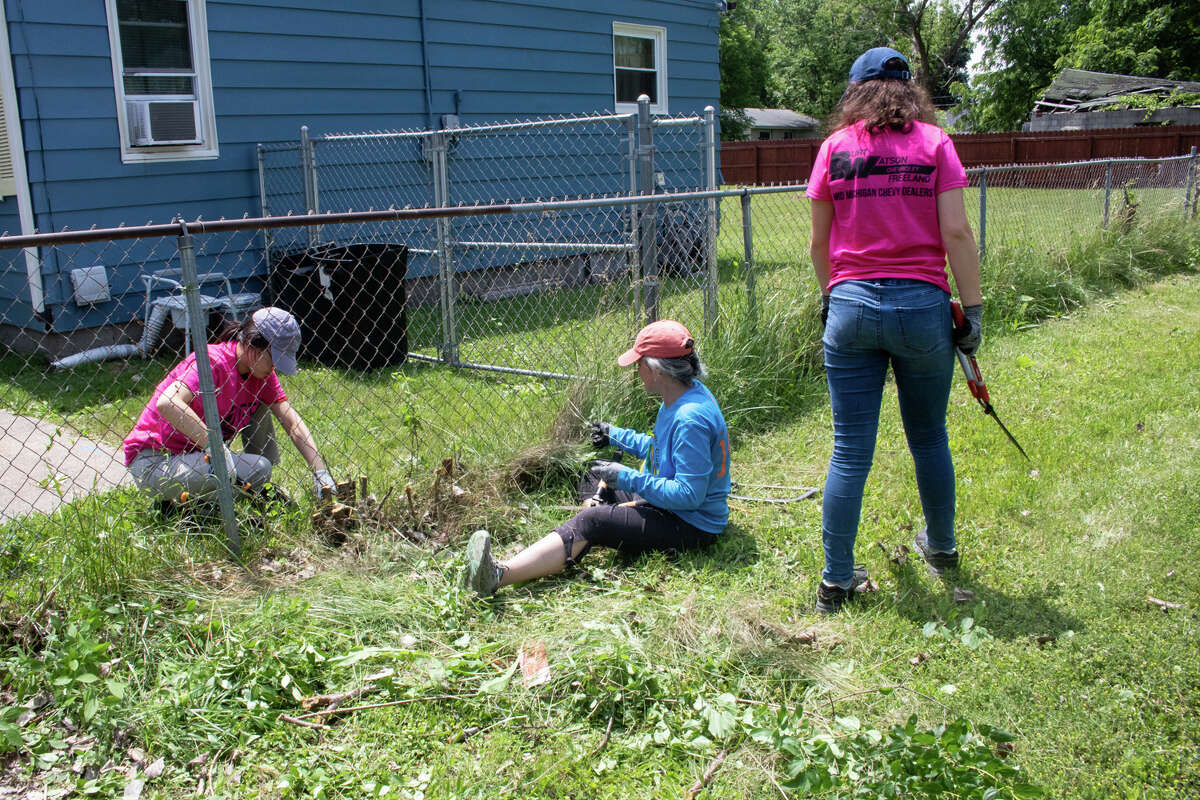 Volunteers revitalize Beechwood and Elmwood Avenue during the eighth annual One Week, One Street event Wednesday in Saginaw.