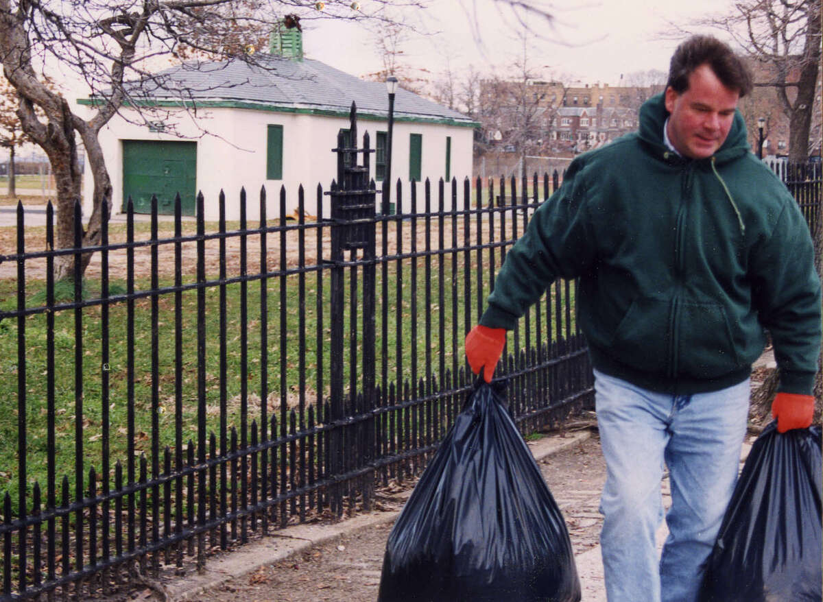 John O'Hara picks up trash as part of his community service sentence. He claims his conviction for illegal voting, which has since been vacated, can be blamed in part on Saratoga Springs Judge Jeffrey Wait.