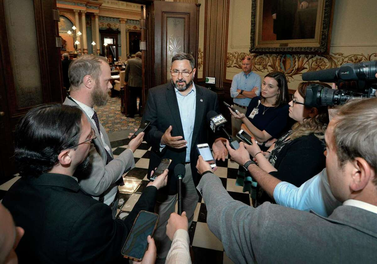 Senate Appropriations Committee Chairman Jim Stamas, R-Midland, discusses with the press corps the status of the K-12 supplemental funding pending in the House and the progress of the fiscal year 2022 state budget discussions. (Photo provided)