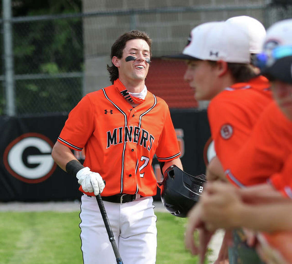 Cameron Hailstone (left), shown returning to his team's dugout after hitting a home run for the Gillespie Miners this spring, had four hits and reached base six times Thursday to lead Alton Post 126 Legion baseball to a victory at Eureka, Missouri.