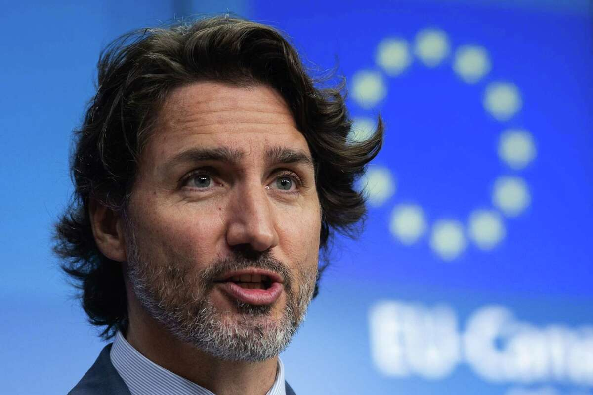 Justin Trudeau, Canada's prime minister, speaks during a news conference following a European Union and Canada summit in Brussels, on June 15, 2021.