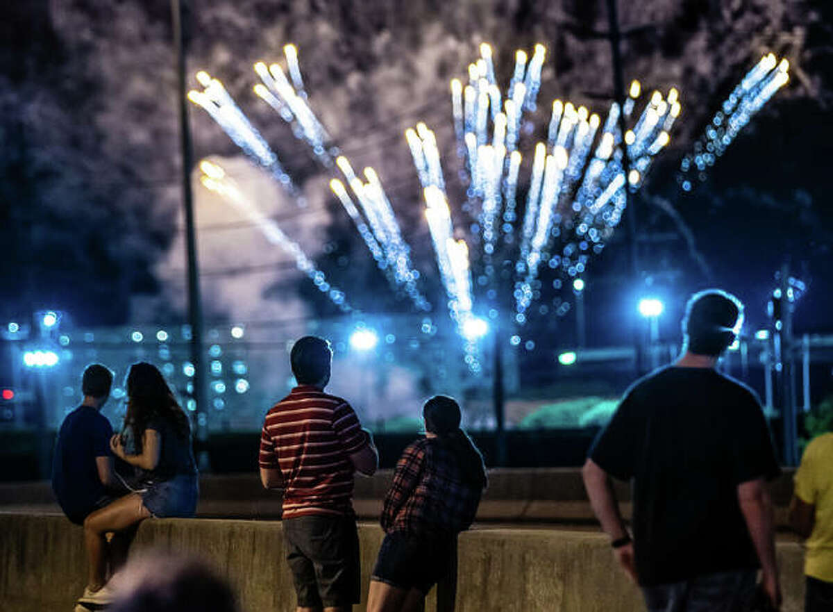 Fireworks light up Alton in 2019. After almost all Independence Day shows were canceled last year because of COVID-19 concerns, this year's holiday offers multiple opportunities over the next three weeks to see local fireworks displays.