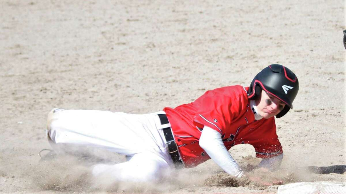 Jack Cook slides in safely on one of his 35 stolen bases this season. (News Advocate file photo)