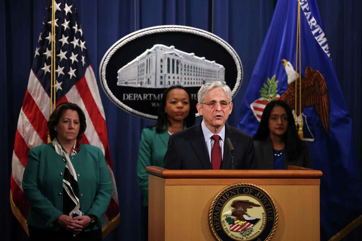 WASHINGTON, DC - JUNE 25: Attorney General Merrick Garland speaks at a news conference at the Department of Justice on June 25, 2021 in Washington, DC. Justice Garland held the news conference to announce that the Department of Justice would be suing the state of Georgia over it's new election laws. (Photo by Anna Moneymaker/Getty Images).