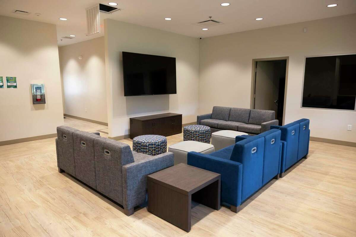 The group area is seen at Yes To Youth's new youth shelters, Thursday, June 24, 2021, in Conroe. The new shelters doubled the capacity at which they can accept youth, from 15 at their own building to 30.