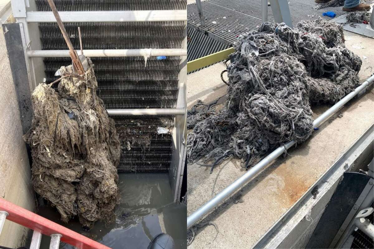 League City wastewater employees had to manually remove a huge ball of rags from its treatment facility recently resulting froma number of flushed wipes and cloths.