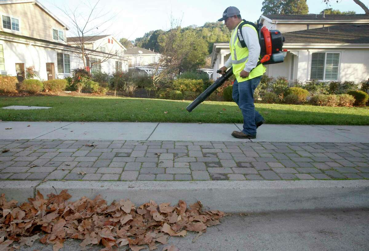 Pedro Lopez from Vaca Landscaping uses a gas-powered leaf blower to clear a residential complex in Novato.