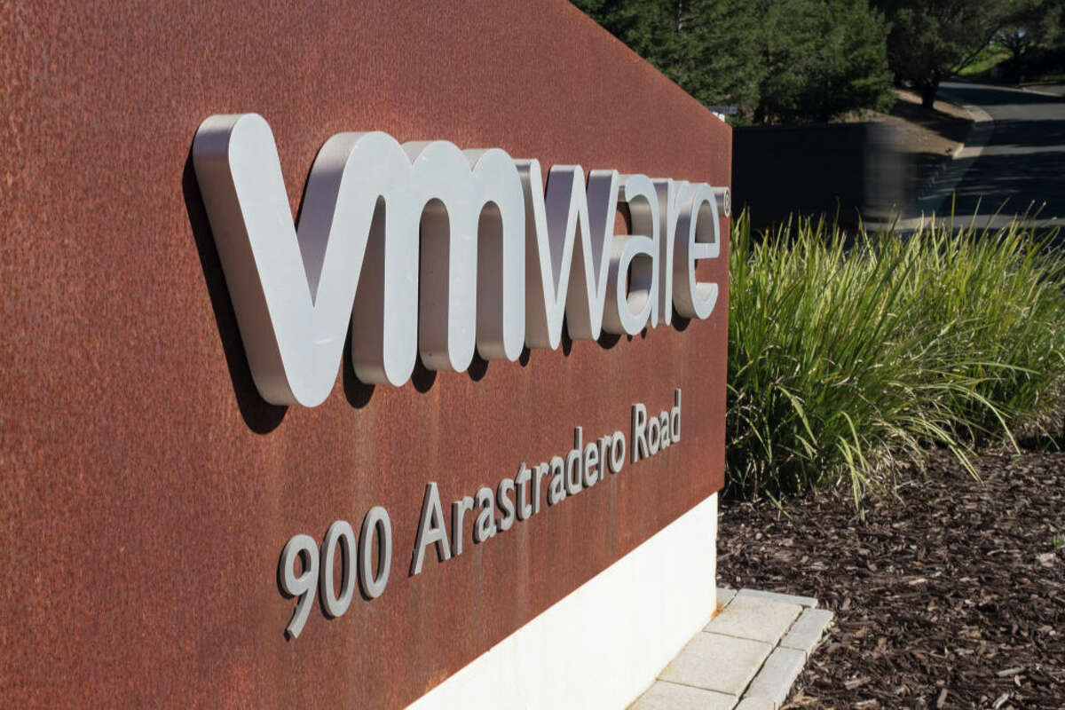 A VMware sign in front of its headquarters in Palo Alto, Calif.