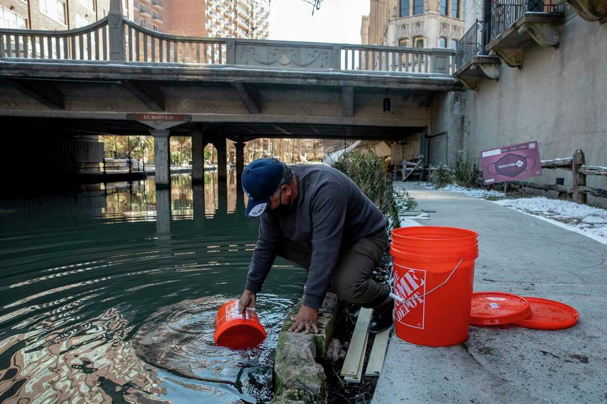 Henry Rodriguez fills up buckets from the River Walk for water to flush toilets during the February freeze. Buildings that were closed then will need to have their pipes checked before being reopened.