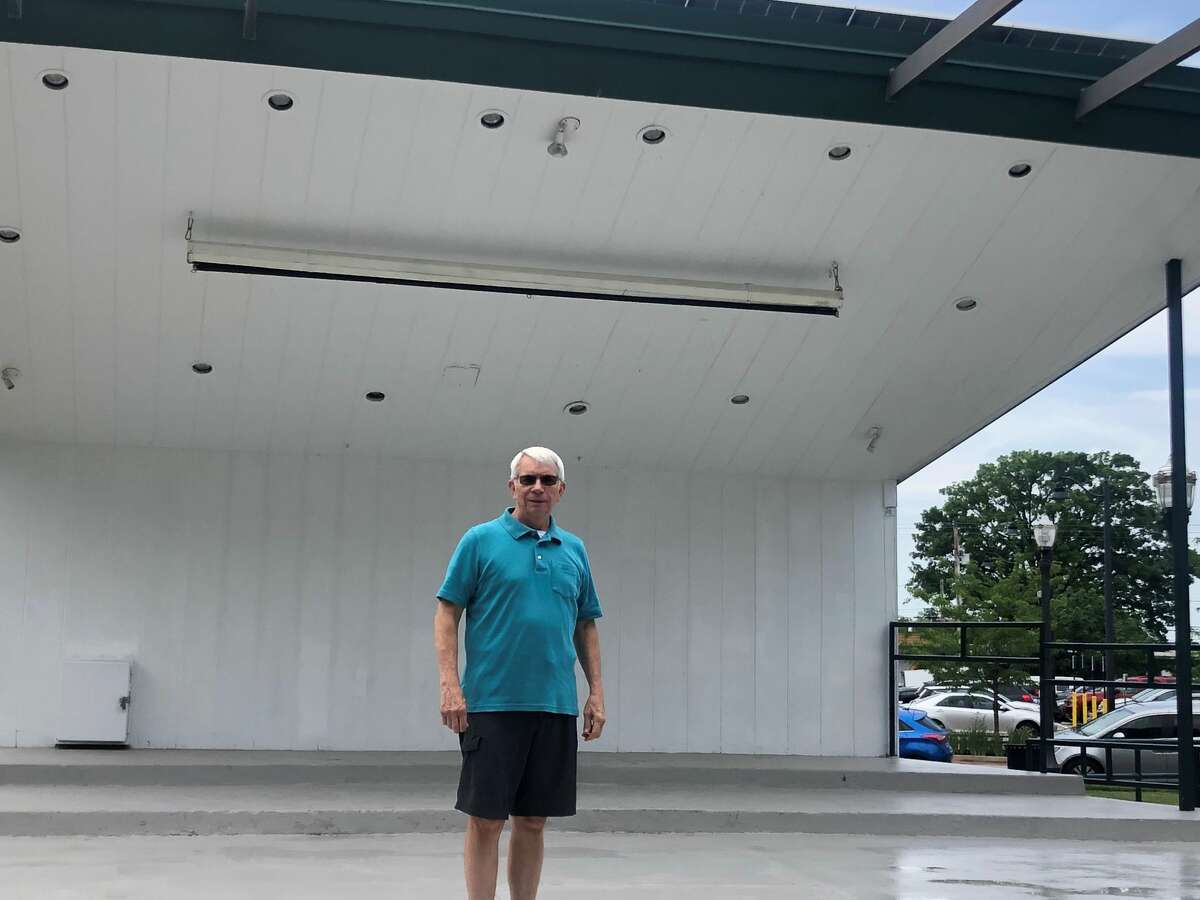 Jim Kerfoot, the bandleader of the Edwardsville Municipal band, at the City Park bandstand