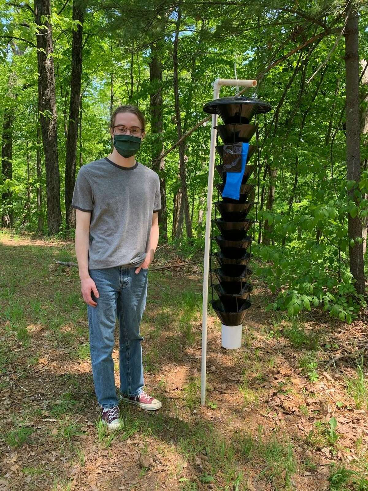 Recent Ridgefield High School graduate Jacob Corsilia sets up a Lindgren funnel to monitor for the invasive forest insect, the southern pine beetle, in Fairfield County.