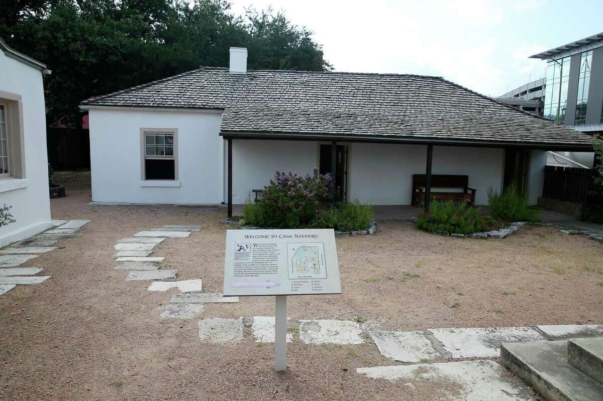 Casa Navarro State Historic Site opens on Friday, June 25, 2021. The site closed in August 2020 due to the demolition of the Central Texas Detention Facility next door. The half-acre site has a cluster of historic structures where Jose Antonio Navarro, one of two Tejanos who signed the Texas Declaration of Independence, lived and operated a store in the 1800s. The kitchen/dining are is seen in this image.